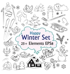 Beautiful Winter Sketch Collection vector image