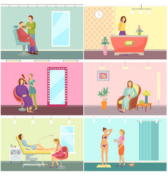 Beauty salon and spa center interior cartoon set vector