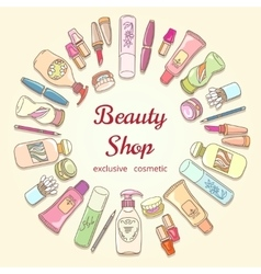 Beauty shop cosmetic label doodle frame vector