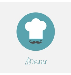 Big chef hat and mustache in the circle Menu icon vector image
