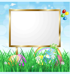 blank signboard on spring landscape vector image