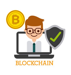 blockchain laptop computer business man bitcoin vector image