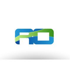 Blue green ro r o alphabet letter logo vector