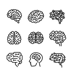 Brain icon set outline style vector