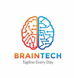 Brain tech logo design template vector