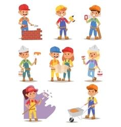 Builders kids set vector