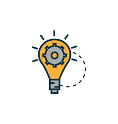 bulb with gear work tools engineering icon vector image
