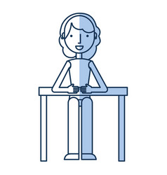 Businesswoman in table avatar character icon vector