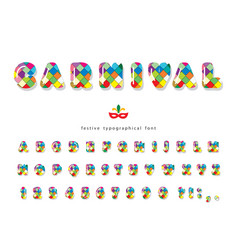carnival 3d glossy font colorful bright vector image