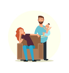 cartoon character family tired mom and dad with vector image