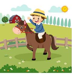 cartoon little boy riding a horse vector image