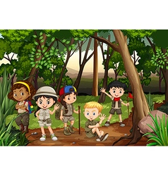 Children camping out in woods vector