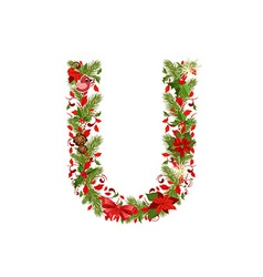 Christmas floral tree letter U vector