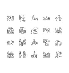 client line icons signs set outline vector image