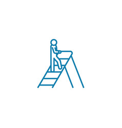 climbing the corporate ladder linear icon concept vector image