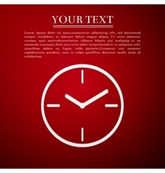 Clock flat icon on red background Adobe vector