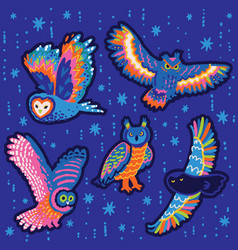 Collection decorative stickers with owls vector