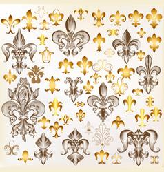 Collection of royal fleur de lis for design vector
