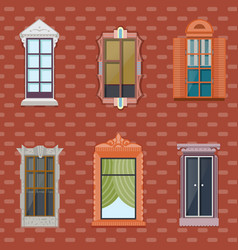 Colorful detailed windows flat set vector