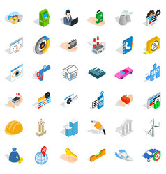 concern icons set isometric style vector image