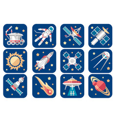Cosmos icons set cartoon spacecrafts alien vector