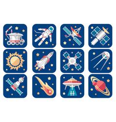 cosmos icons set cartoon spacecrafts alien vector image