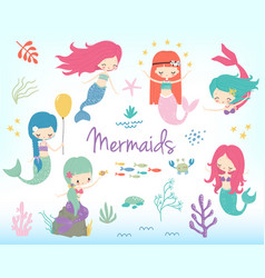 cute little cartoon mermaids clip art vector image
