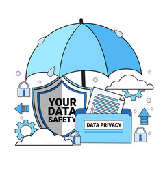 Data safety cloud shield folder paper umbrella vector