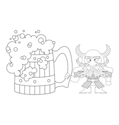 Dwarf with great beer mug contour vector image