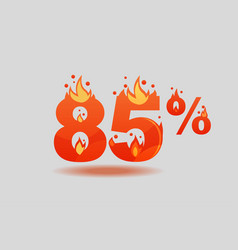 Eighty five percent discount numbers on fire vector