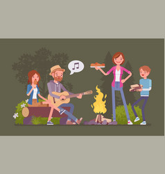 family near campfire vector image