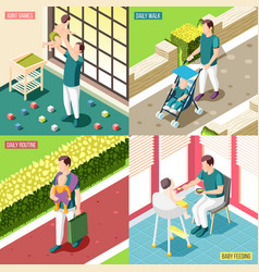 Fathers on maternity leave 2x2 design concept vector