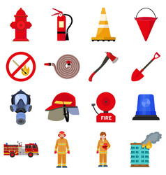 Fire fighter icon set flat style vector