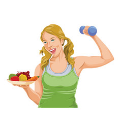 fit woman posing with dumbbell and fruit vector image