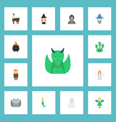 flat icons magic flying huge man and other vector image