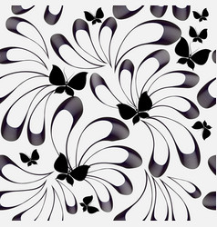 floral black and white seamless pattern black vector image