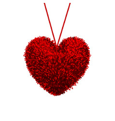 fluffy pom-pom in shape a heart vector image