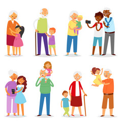Grandparents family together grandfather vector
