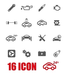 Grey car service icon set vector