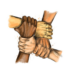 Group people united hands together expressing vector