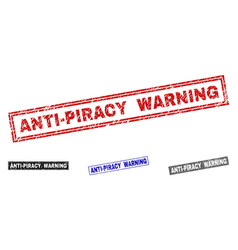 Grunge anti-piracy warning scratched rectangle vector