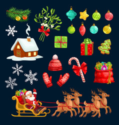 holiday icons signs for christmas with santa claus vector image