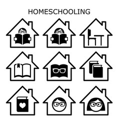 Homeschooling icons set home education vector