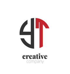 initial letter yt creative elegant circle logo vector image