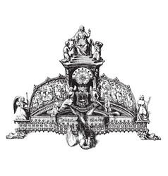 Inkstand silver vintage engraving vector