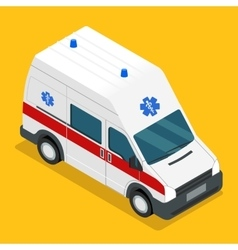 isometric ambulance carv emergency medical van vector image