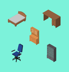 Isometric design set of cupboard bedstead table vector