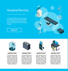 isometric hospital icons landing page vector image