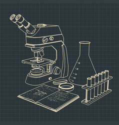 Laboratory microscope and test tubes vector