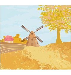 Landscape with windmill in autumn sunny day vector image